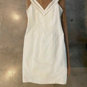 Zara White Fitted V-Neck Mini Dress, Size XS